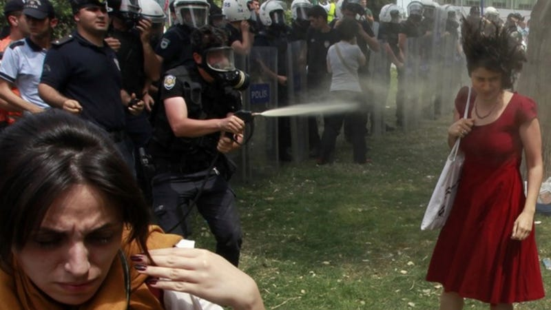 Illustration for article titled Brutally Tear-Gassed 'Woman in Red' Is Symbol of Turkey's Occupy Gezi