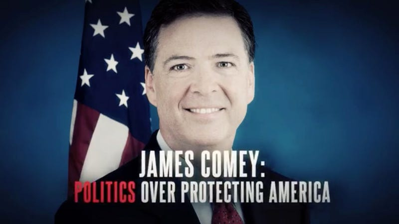 Image from an attack ad funded by the pro-Trump group Great America Alliance that will air during former FBI Director James Comey's testimony (Screenshot/YouTube)