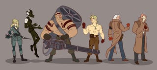 Illustration for article titled Metal Gear Solid's Cast, Redrawn As Cartoon Characters