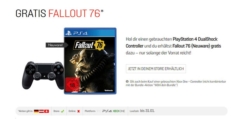Illustration for article titled German Stores Are Giving Fallout 76 Away In Very Sad Promos