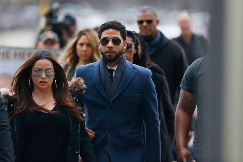 Jussie Smollett arriving for court in Chicago, March 14, 2019. All charges were later dropped against him.