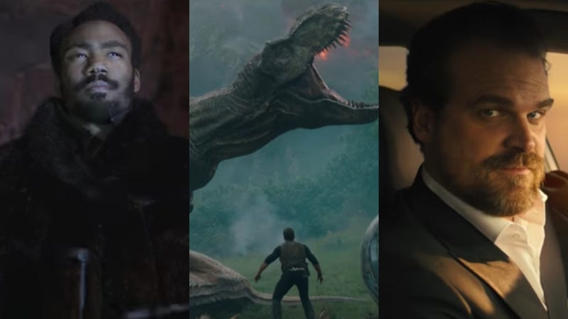 Donald Glover in Solo: A Star Wars Story (Screenshot: YouTube), Jurassic World: Fallen Kingdom (Screenshot: YouTube), David Harbour for Tide (Screenshot: YouTube)