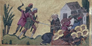 Pantoleon, Martyrdom of the 39 Fathers of Raithu in the Sinai by the Blemmyes, 976-1025. Biblioteca Apostolica, Vatican.