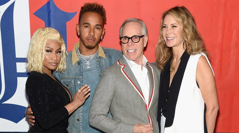 (L-R) Nicki Minaj, Lewis Hamilton, Tommy Hilfiger and Dee Hilfiger attend the TommyXLewis Launch Party at Public Arts on September 10, 2018 in New York City.