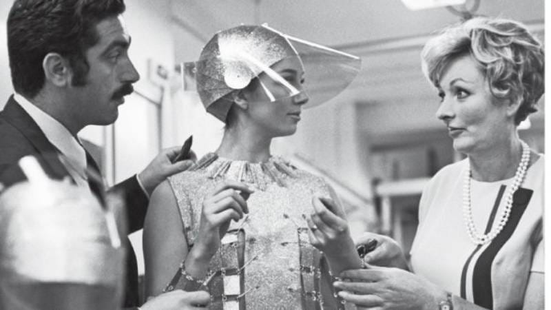 Julie Harris (right) on set. (Image by: Women's Wear Daily)