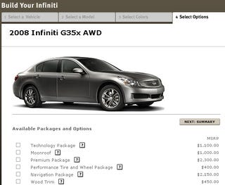Illustration for article titled Infiniti G35X Pricing Magically Fixed But Spoiler Disappears Too