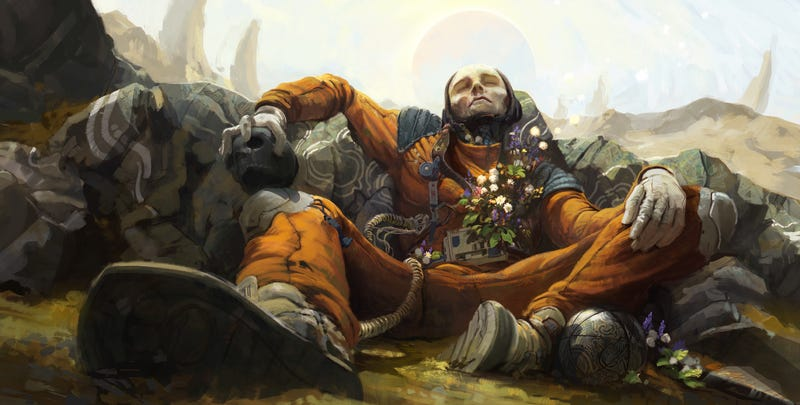 Illustration for article titled Concept Art Writing Prompt: The Astronaut Of Skull And Flowers