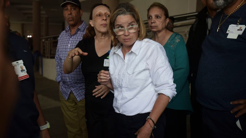 San Juan, Puerto Rico, Mayor Carmen Yulín Cruz arrives at San Francisco hospital in Rio Piedras area of San Juan on Sept. 30, 2017, as about 35 patients are evacuated after the failure of an electrical plant. (Carlos Giusti/AP Images)