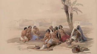 Enslaved Abyssinian resting at Korti, NubiaDavid Roberts,Egypt & Nubia, 1846-1849, New York Public Library