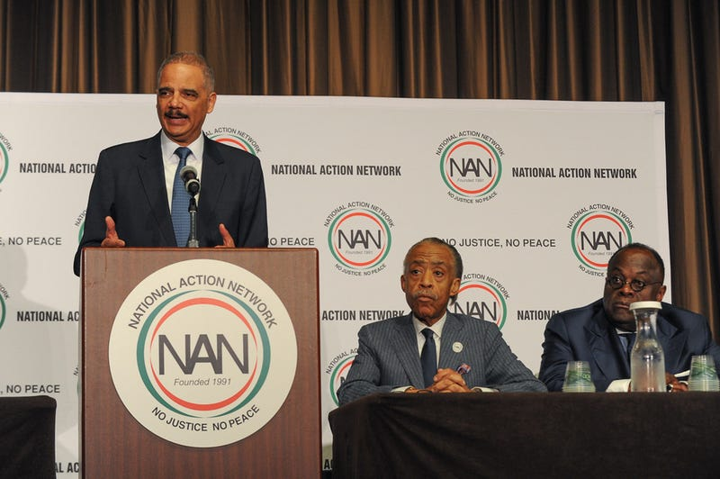 Former U.S. Attorney General Eric Holder, the Rev. Al Sharpton and the Rev. W. Franklyn Richardson at the National Action Network Convention on  April 26, 2017, in New York City (Aaron J. / RedCarpetImages.net for NAN)