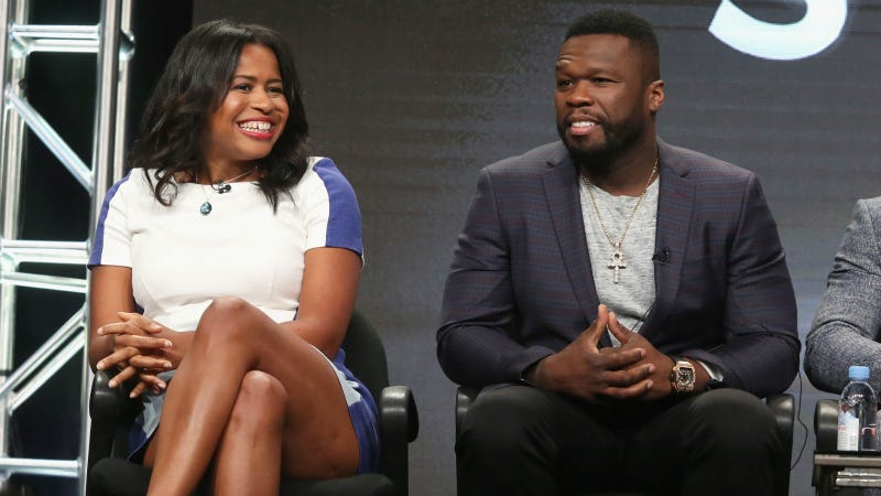 Courtney Kemp and 50 Cent during happier times at TCA, via Getty.