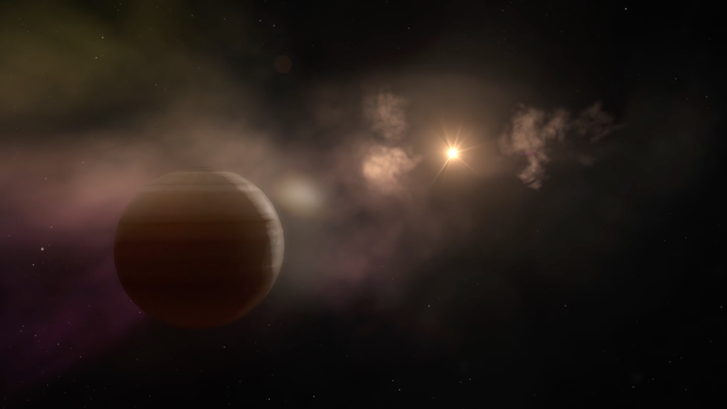 One possible explanation for the irregular dimming is that the star is stripping away the material from a nearby planet. (Credit: NASA's Goddard Space Flight Center/CI Lab)