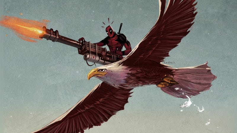 Illustration for article titled Our favorite art of the day: tiny Deadpool flying on an eagle