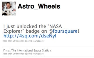 Illustration for article titled Astronaut Checks Into Foursquare From Space