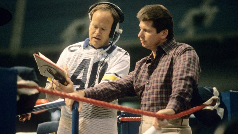 AAF advisor/original XFL co-founder Dick Ebersol, the father of AAF founder Charlie Ebersol, with the XFL's Vince McMahon wt WrestleMania III.