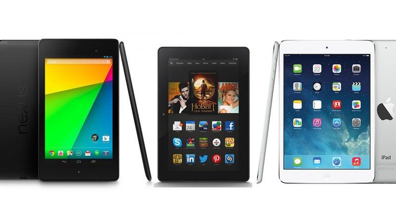 Illustration for article titled ¿Qué mini-tableta me compro: iPad Mini, Nexus 7 o Kindle Fire HDX?