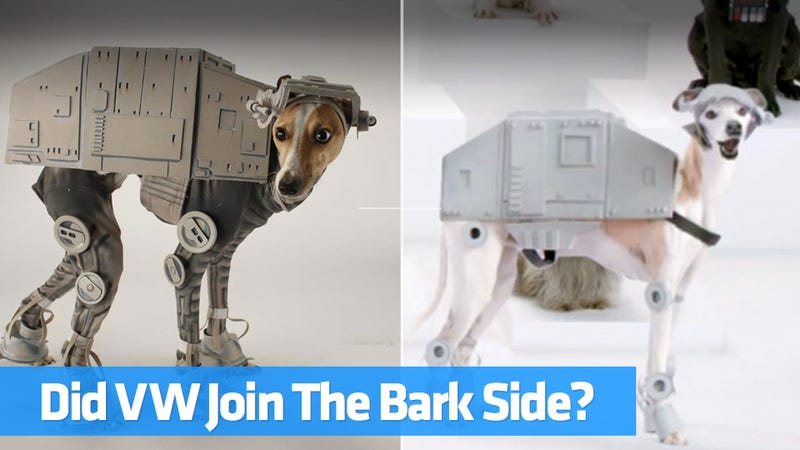 Illustration for article titled Did Volkswagen's New Star Wars Super Bowl Ad Ripoff This Adorable Dog?