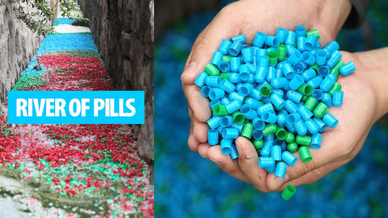Illustration for article titled Mysterious Rainbow River of Pills Appears In China