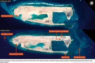 Illustration for article titled China Is Turning a Remote Reef Into an Artificial Island With a Runway