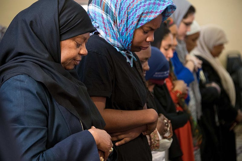 Muslim women pray inside the Masjid Muhammad, the nation's mosque, in Washington, D.C., on Nov. 18, 2016, after a press conference on the aftermath of the presidential election and rising hate crimes.JIM WATSON/AFP/Getty Images