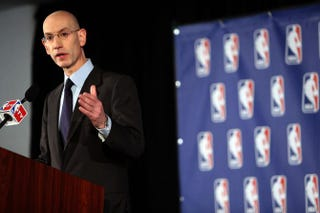 NBA Commissioner Adam Silver addresses the media about Los Angeles Clippers owner Donald Sterling April 29, 2014, in New York City.Spencer Platt/Getty Images