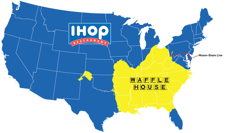 map do you live in ihop america or waffle house america