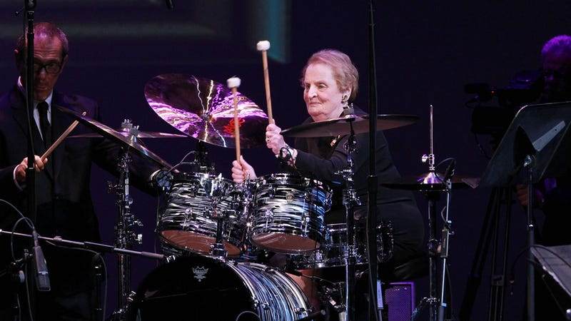 Illustration for article titled BAMF Madeleine Albright Wows Audience With Her Drum Skills at International Jazz Competition