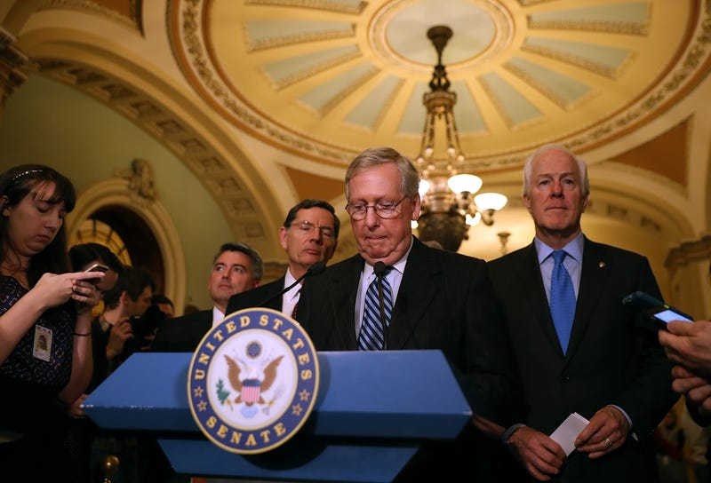 Senate Majority Leader Mitch McConnell (R-Ky.) at podium (Justin Sullivan/Getty Images)