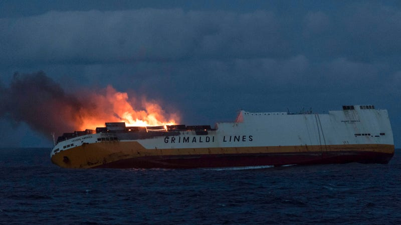 The burning Grimaldi vessel Grande America off the coast of eastern France, which caused a massive oil spill, on March 11.