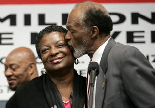 Marion Barry with his wife, Cora Masters Barry, during a news conference May 2, 2005, to discuss the 10th anniversary of the Million Man March at the National Press Club in Washington, D.C.Chip Somodevilla/Getty Images