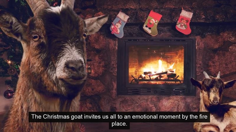 Illustration for article titled Goats scream their way through Christmas carols for a good cause