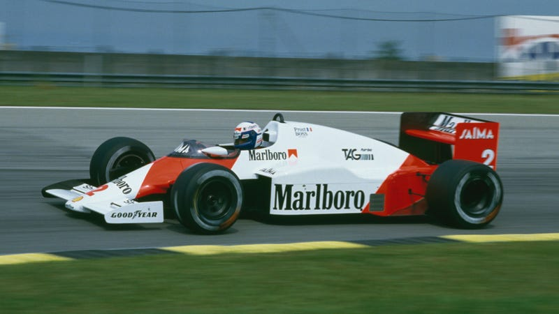 Alain Prost drives a McLaren-TAG Porsche in 1985. Photo credit: Mike King/Getty Images