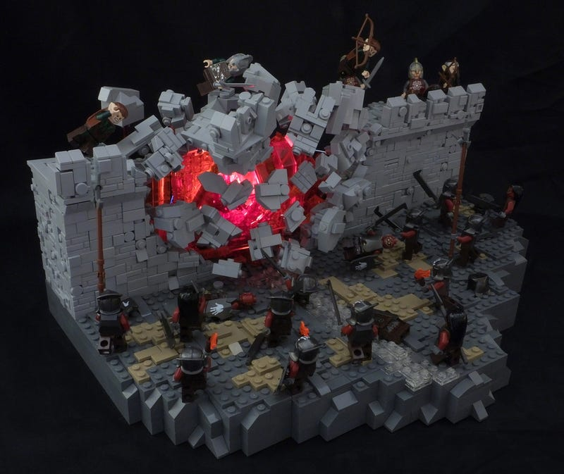 Illustration for article titled A Fantastic Lego Diorama Captures Helms Deep Mid-Explosion