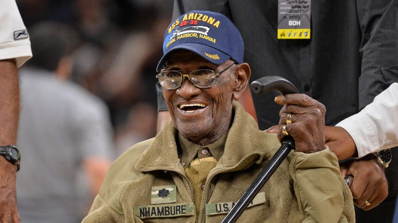 Richard Overton, seen here at the age of 110, being honored at a Memphis Grizzlies game in March 2017