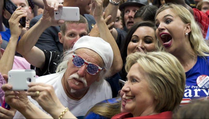 Clinton campaigns at Carl Hayden Community High School in Phoenix, Monday, March 21, 2016. Photo via AP