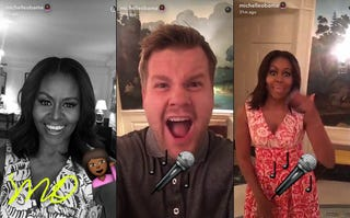 Michelle Obama (left and right) and James CordenSnapchat