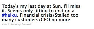 Illustration for article titled Sun CEO Tweets Resignation in Haiku
