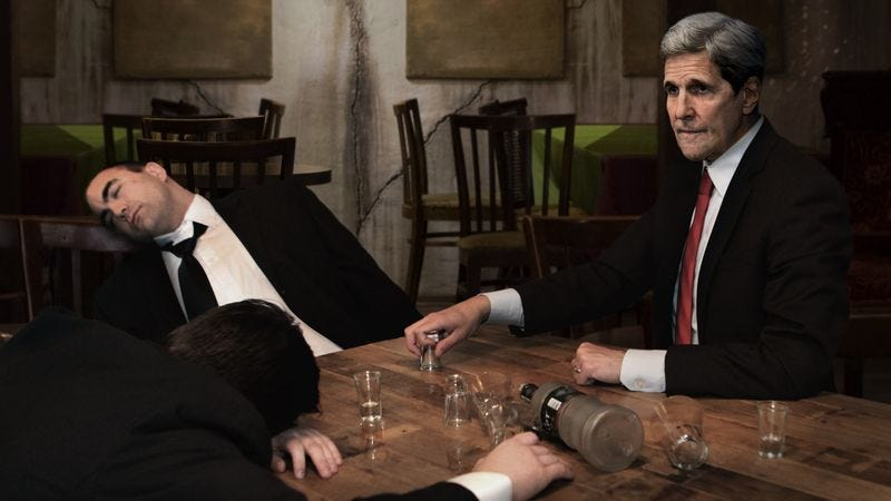 Illustration for article titled Kerry Downs Another Vodka Shot As The Last Of Putin's Security Detail Passes Out