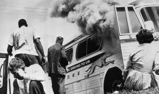 CORE freedom riders outside their bus, which had been firebombed, in Anniston, Ala., May 14, 1961Library of Congress
