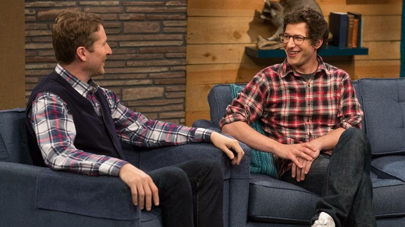"Illustration for article titled Comedy Bang! Bang!: ""Andy Samberg Wears A Plaid Shirt And Glasses"""