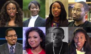 Top: Ola Orekunrin, Gabrielle Turnquest, Anne-Marie Imafidon, Polite Stewart Jr. Bottom: Cortlan Wickliff, Brittney Exline, James Martin, Thessalonika Arzu-Embry.YouTube screenshots