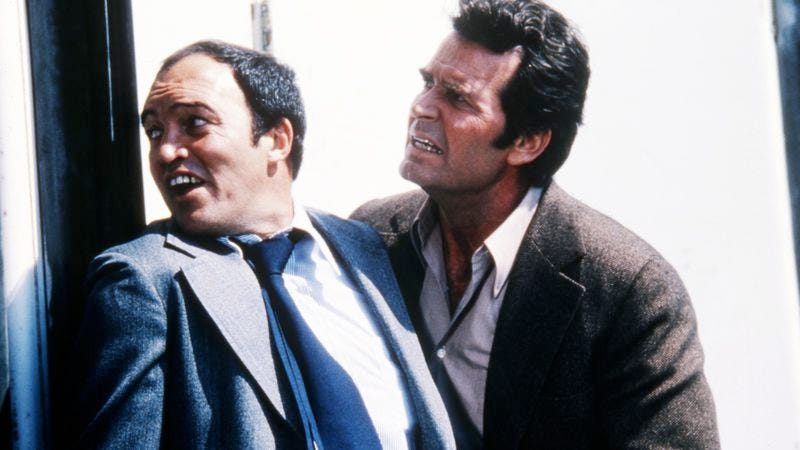 Joe Santos with James Garner, in The Rockford Files. (Photo: Getty Images)