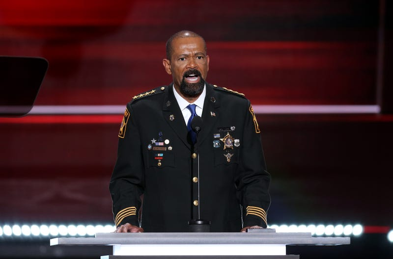 David Clarke, sheriff of Milwaukee County, speaks during the Republican National Convention in Cleveland on July 18, 2016.David Paul Morris/Bloomberg via Getty Images