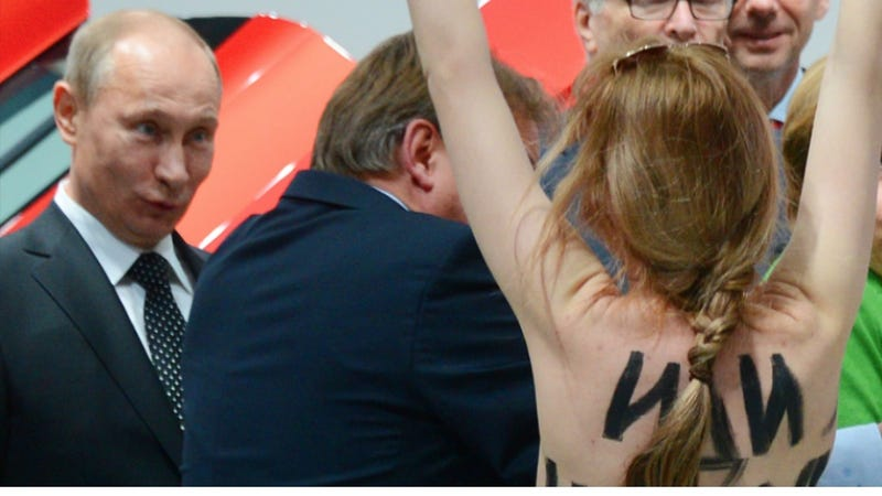 Illustration for article titled Topless Femen Activists Protest Putin and Putin Said He Liked It