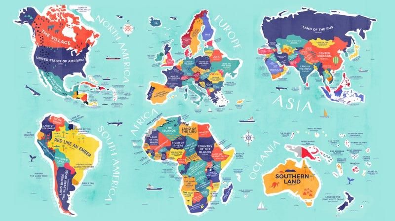 Illustration for article titled El mapa que, en lugar de nombrar cada país, te dice lo que significan sus nombres