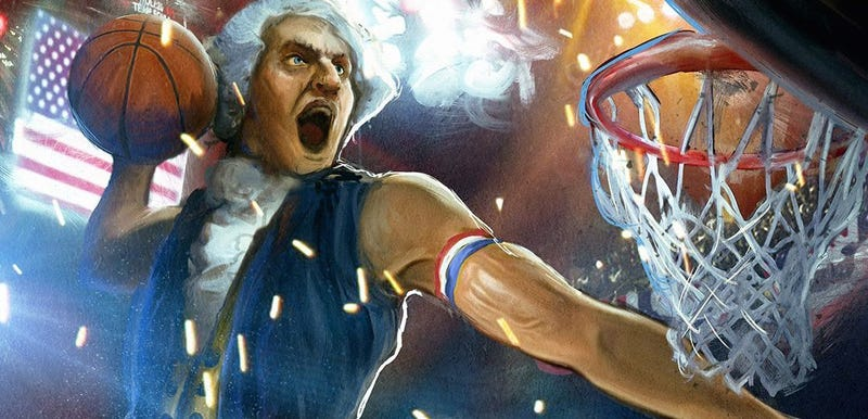 Illustration for article titled This Is A Painting Of George Washington Dunking On Kim Jong-un