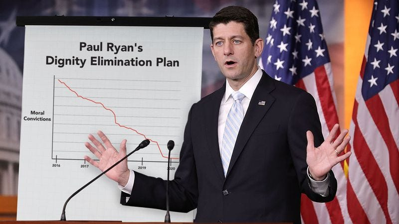 Illustration for article titled Policy Guy: Paul Ryan Just Put Out A Comprehensive 14-Point Plan To Fully Debase Himself For The Trump Administration