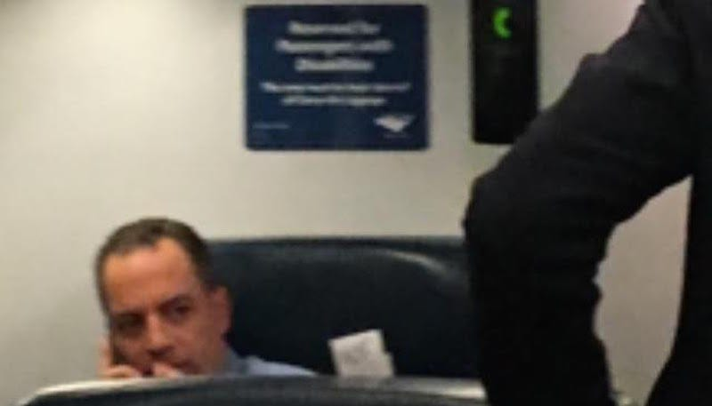 Illustration for article titled This Sure Looks Like Reince Priebus Taking a Seat Reserved for Disabled Passengers
