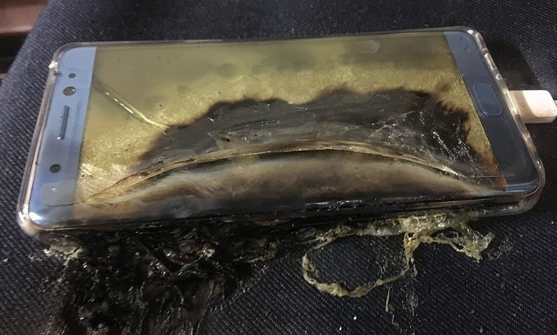 Samsung Galaxy Note 7 after sustaining fire damage from its battery (Twitter)