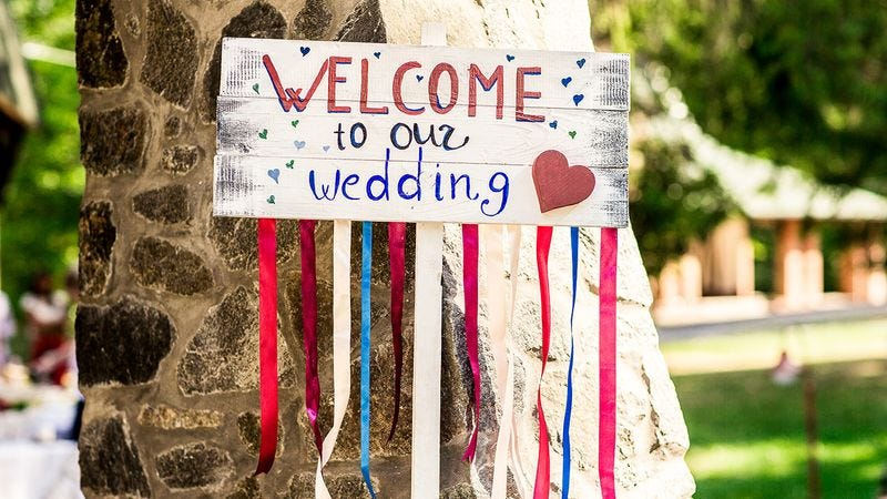 A welcome sign for a wedding.